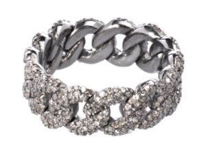 silver Diamond Chain Link Ring