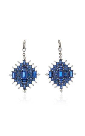 18k White Gold Sapphire And Diamond Earrings By Nam Cho | Moda Operandi