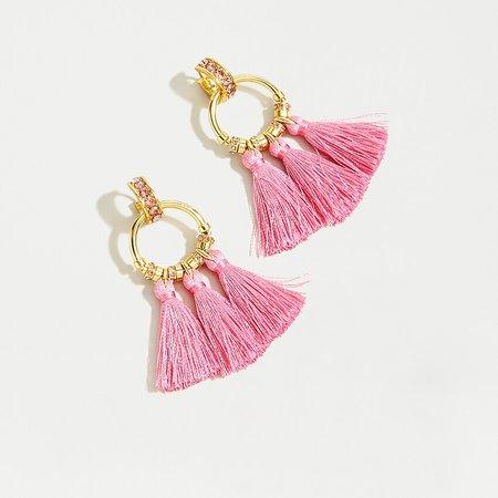 J.Crew: Pavé Tassel Earrings pink