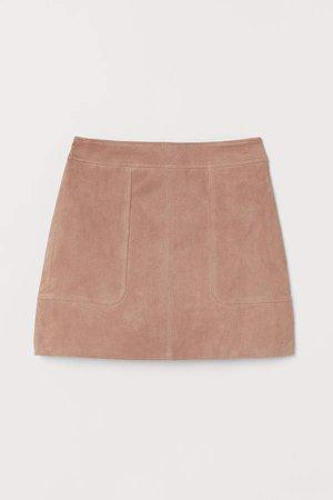 Short Suede Skirt - Beige