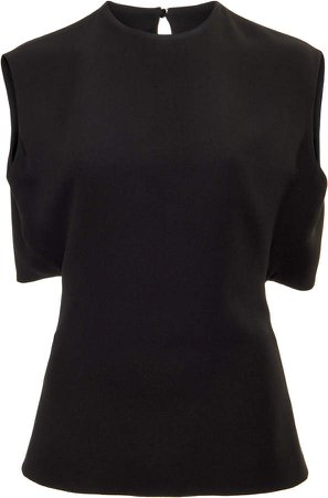 Valentino Sleeveless Cape Back Silk Top