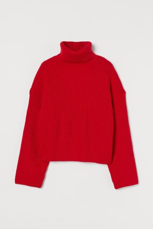 Ribbed Turtleneck Sweater - Red - Ladies | H&M US