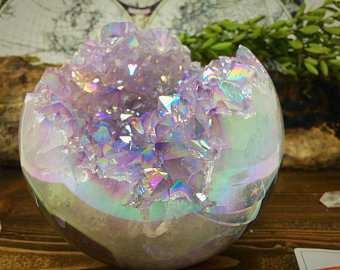 Angel Aura Quartz Geode Sphere Free Shipping Amethyst Aura