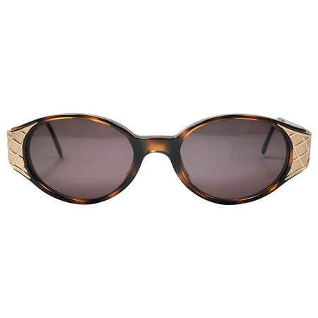Vintage Yves Saint Laurent 6547 Round Gold 1980's Paris Sunglasses For Sale at 1stdibs
