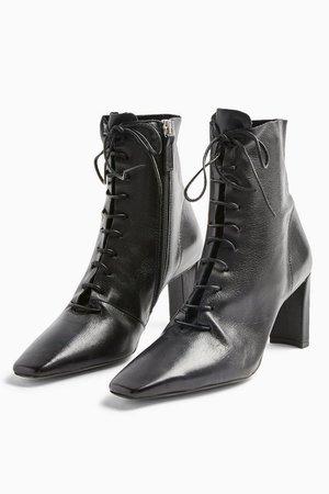 MATILDA Black Lace Up Boots   Topshop