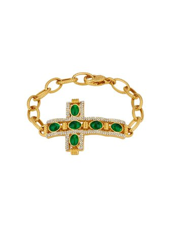 Gold Gucci Cabochon Stone Cross Bracelet | Farfetch.com
