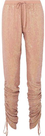 Ruched Sequined Georgette Tapered Pants - Beige