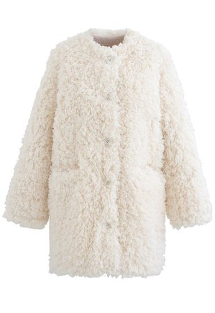 Collarless Shaggy Faux Fur Suede Coat in Ivory - Retro, Indie and Unique Fashion