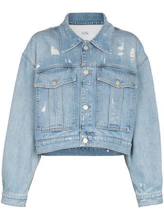 Shop blue Givenchy logo-print cropped denim jacket with Afterpay - Farfetch Australia
