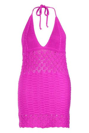 Plus Crochet Halterneck Beach Dress | Boohoo