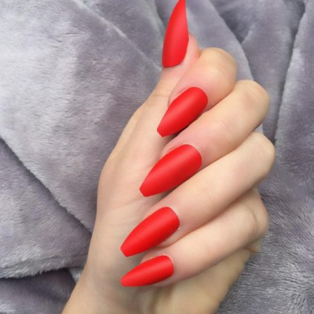 Hot Red Matte Long Coffin – Doobys Nails