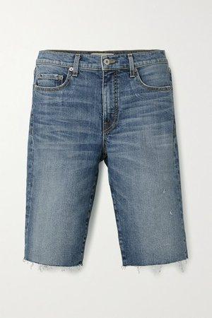 Sydney Distressed Denim Shorts - Mid denim