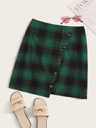 Green Plaid Asymmetrical Skirt