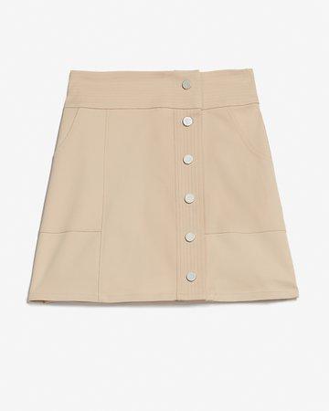 Super High Waisted Button Front Utility Mini Skirt | Express