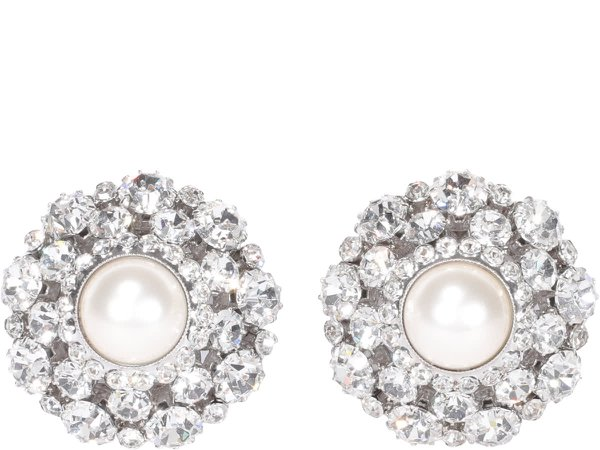 Alessandra Rich Crystal Earrings With Central Pearl