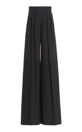 Orsola Pleated Pinstripe Wool Wide-Leg Pants By Max Mara   Moda Operandi