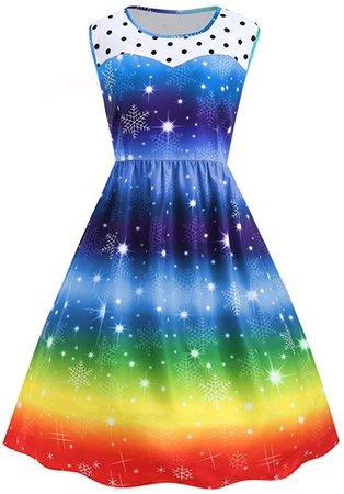 Christmas Rainbow Party Dress Womens Vintage Xmas Swing Dress at Amazon Women's Clothing store