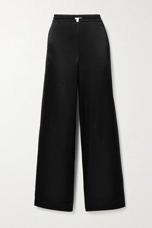 Satin Track Pants - Black