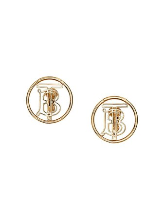 Gold Burberry Gold-plated Monogram Motif Earrings | Farfetch.com