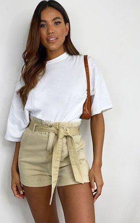 Stone Tie Waist Denim Shorts | Denim | PrettyLittleThing