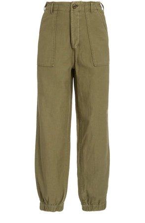 Cotton-Twill Straight-Leg Pants