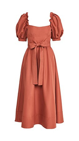 Self Portrait Rust Taffeta Midi Dress | SHOPBOP