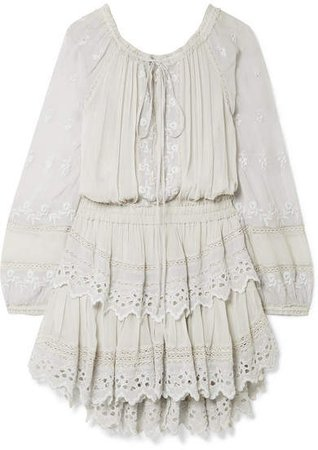 Popover Ruffled Broderie Anglaise-trimmed Georgette Mini Dress - Sky blue
