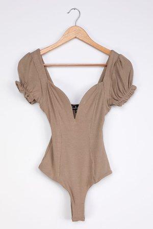 Sexy Bodysuit - Taupe Ribbed Knit Bodysuit - Puff Sleeve Bodysuit - Lulus