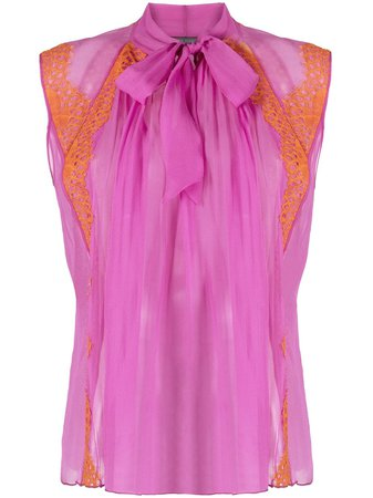 Shop pink Alberta Ferretti lace-panelled sleeveless blouse with Express Delivery - Farfetch