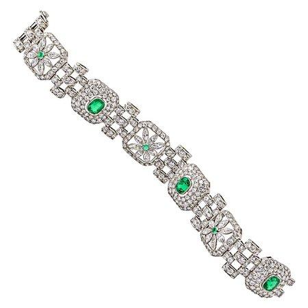 Art Deco Emerald Diamond Bracelet
