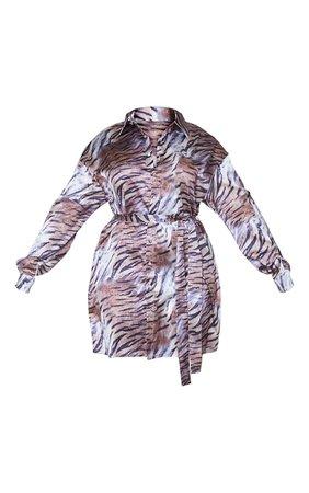 Plus Brown Faded Tiger Tie Waist Shirt Dress | PrettyLittleThing USA