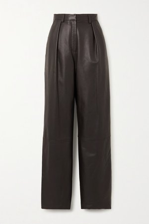 Boy Pleated Leather Wide-leg Pants - Brown