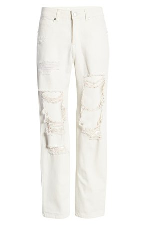 High Waist Nonstretch Deconstructed Ripped Mom Jeans | Nordstrom