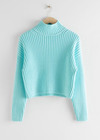 Chunky Ribbed Turtleneck Sweater - Light Blue - Sweaters - & Other Stories