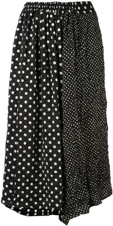 Polka Dot Print Midi Skirt