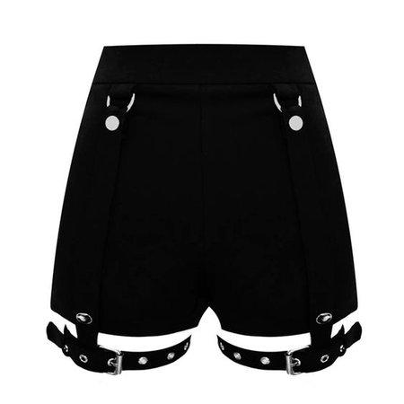 原创设计三种穿法暗黑朋克金属腿环可拆不对称包臀修身高腰短裤