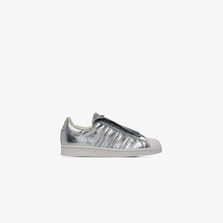 silver Superstar Fringe leather sneakers