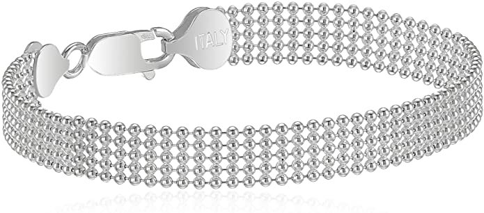 "Sterling Silver Five-Row Shot Bead Chain Bracelet, 8"": Jewelry"