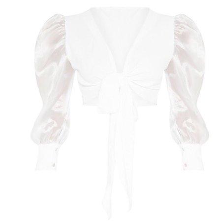 PLT white sheer puff sleeve top