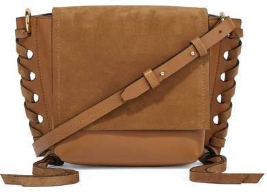 Kleny Whipstitched Leather And Suede Shoulder Bag - Dark brown