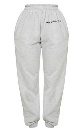Prettylittlething Shape Grey Embroidered Joggers   PrettyLittleThing