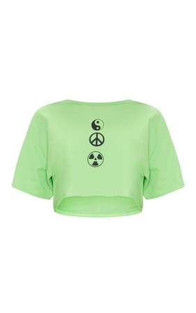 Lime Green Symbol Printed Crop T Shirt | Tops | PrettyLittleThing USA