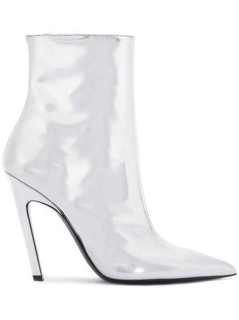 Metallic Balenciaga Silver Talon Mirror 80 Ankle Boots | Farfetch.com