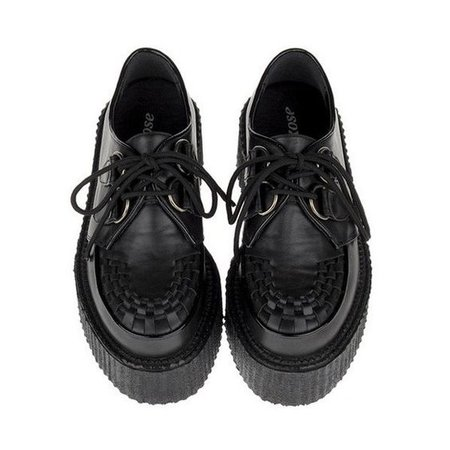 Lace Up Creepers with PU Detailed Toe