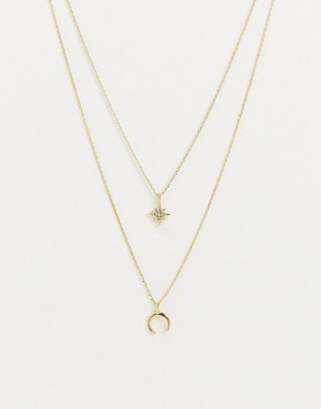 Pieces multi chain necklace with star and wish bone pendants in gold | ASOS