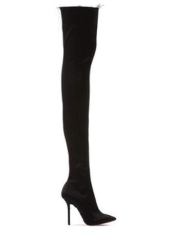 110mm Thigh High Stretch Satin Boots