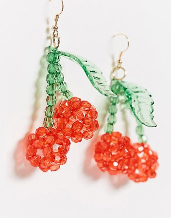 ASOS DESIGN earrings with beaded cherry drop | ASOS