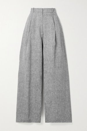 Ainsley Linen Wide-leg Pants - Dark gray