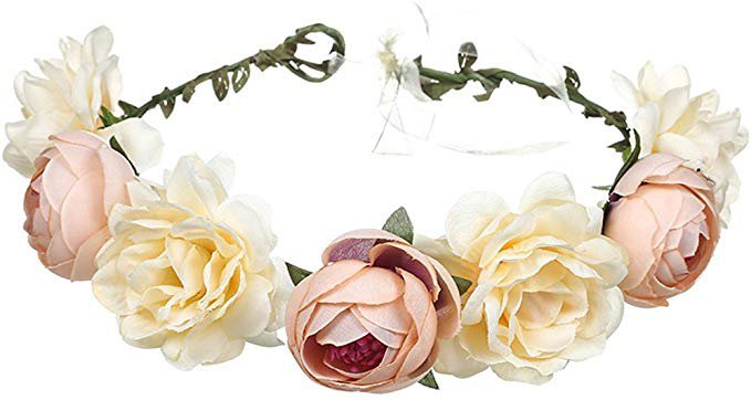 Amazon.com: June Bloomy Women Rose Floral Crown Hair Wreath Leave Flower Headband With Adjustable Ribbon (Champagne): Clothing