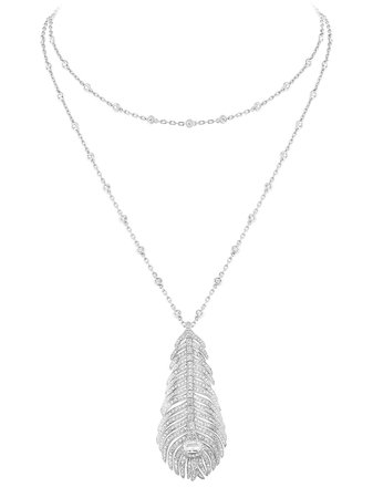Shop silver Boucheron 18kt white gold diamond Plume de Paon pendant necklace with Express Delivery - Farfetch